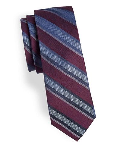 Calvin Klein Striped Silk-Blend Tie-PURPLE-One Size