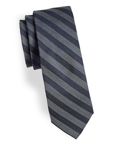 Calvin Klein Textured Two-Tone Slim Tie-BLACK-One Size