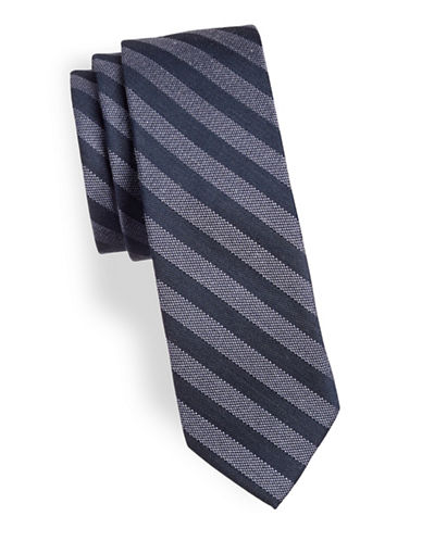 Calvin Klein Textured Two-Tone Slim Tie-BLUE-One Size