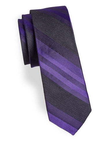 Calvin Klein Mixed Striped Silk-Blend Tie-PURPLE-One Size