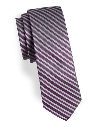 Calvin Klein Striped Silk Tie-PURPLE-One Size