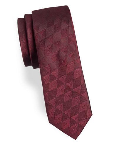 Calvin Klein Geometric Slim Silk Tie-PINK-One Size