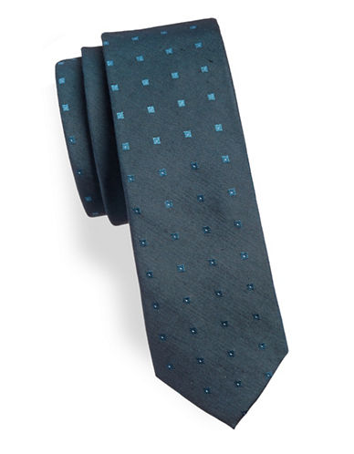 Calvin Klein Printed Slim Silk-Blend Tie-BLUE-One Size