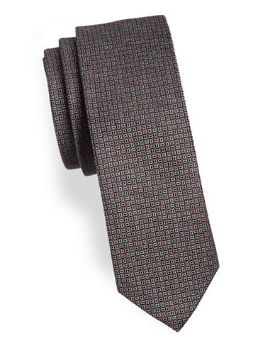 Calvin Klein Printed Slim Silk-Blend Tie-BLACK-One Size