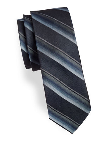 Calvin Klein Slim Striped Silk Tie-NAVY-One Size