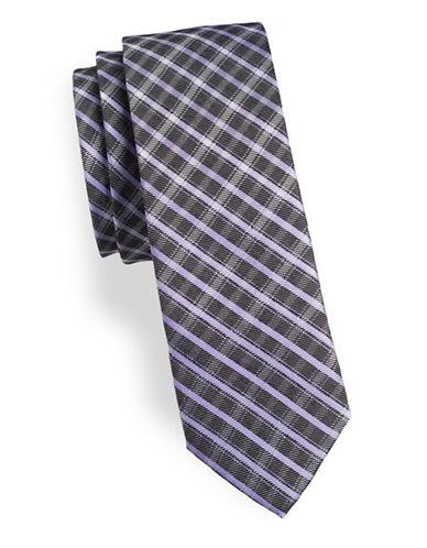 Calvin Klein Slim Checked Silk-Blend Tie-PURPLE-One Size