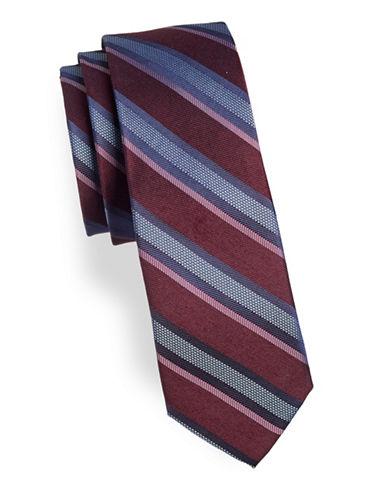 Calvin Klein Striped Silk-Blend Tie-RED-One Size