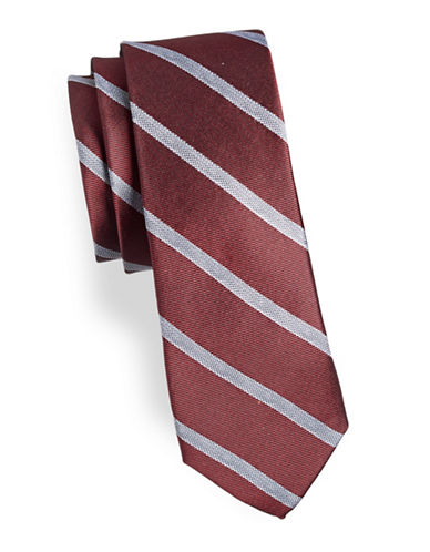 Calvin Klein Classic Silk-Blend Striped Tie-ORANGE-One Size