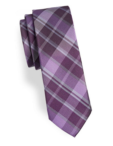 Calvin Klein Slim Checked Silk Tie-PURPLE-One Size