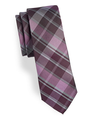 Calvin Klein Slim Checked Silk Tie-RED-One Size