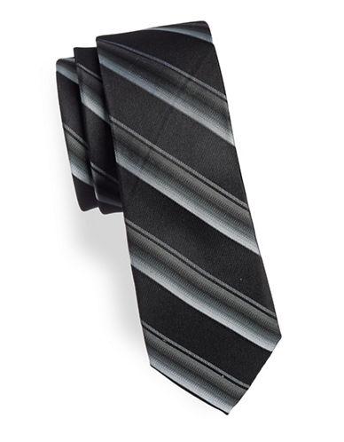 Calvin Klein Slim Striped Silk Tie-BLACK-One Size