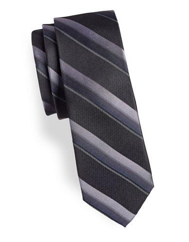 Calvin Klein Slim Striped Silk Tie-PURPLE-One Size