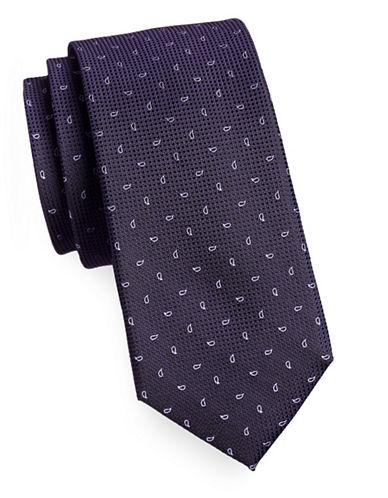Michael Michael Kors Silk Paisley Tie-PURPLE-One Size