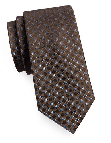 Michael Michael Kors Silk Gingham Tie-BROWN-One Size