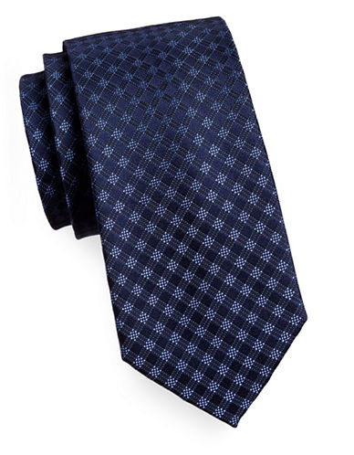 Michael Michael Kors Silk Gingham Tie-NAVY-One Size