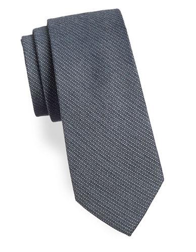 Calvin Klein Textured Fine Dot Tie-CHARCOAL-One Size
