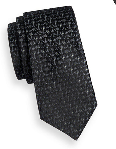 Ted Baker Endurance Martini Print Silk Tie-BLACK-One Size