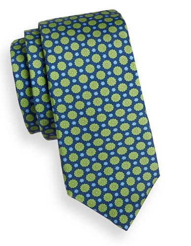 Ted Baker Endurance Floral Silk Tie-NAVY-One Size