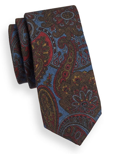 Ted Baker Endurance Paisley Wool Tie-BLUE-One Size