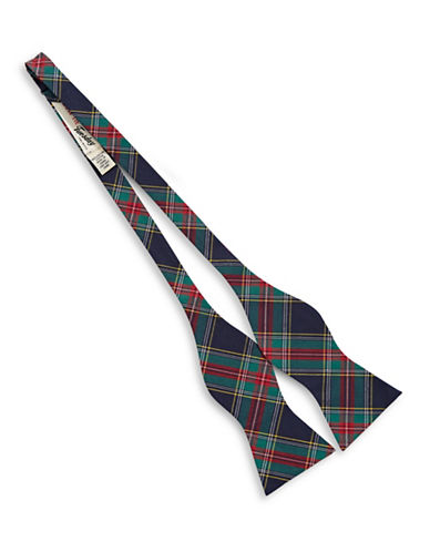 Bow Tie Tuesdays Plaid Bow Tie-NAVY-One Size