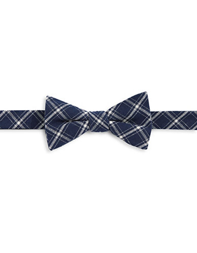 Bow Tie Tuesdays Pre-Tied Plaid Bow Tie-NAVY-One Size