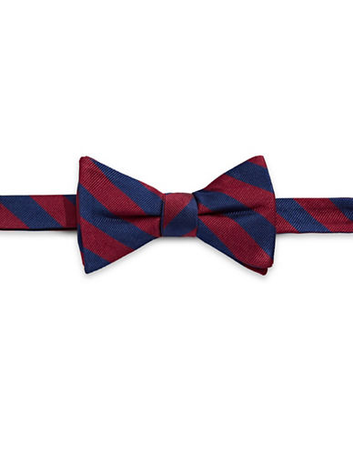 Tommy Hilfiger Pre-Tied Striped Bow Tie-RED-One Size