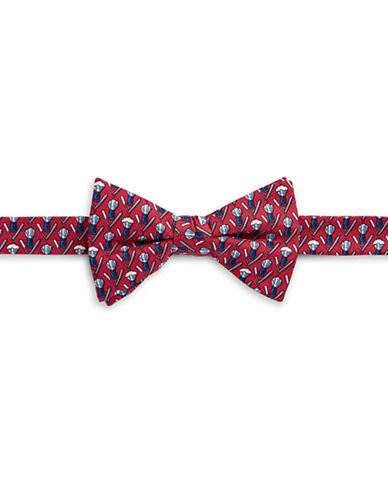 Tommy Hilfiger Pre-Tied Barbershop Bow Tie-RED-One Size