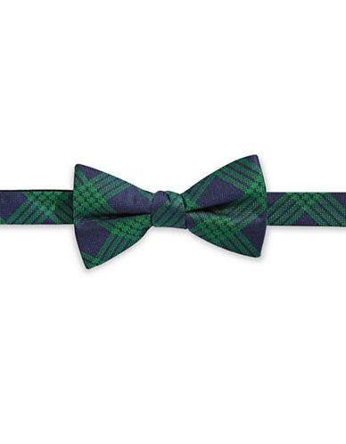 Tommy Hilfiger Pre-Tied Grid Bow Tie-GREEN-One Size