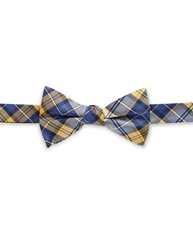 Tommy Hilfiger Pre-Tied Plaid Bow Tie-YELLOW-One Size