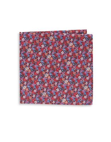 Tommy Hilfiger Floral Pocket Square-BURGUNDY-One Size