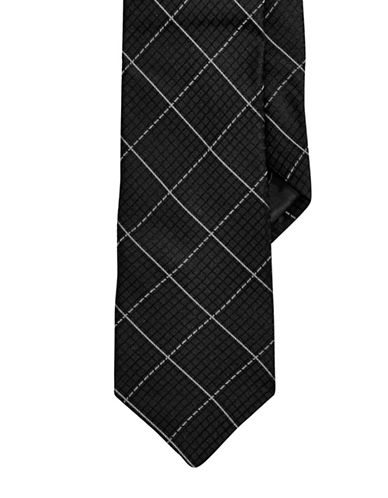 Calvin Klein Grid Slim Tie-BLACK-One Size