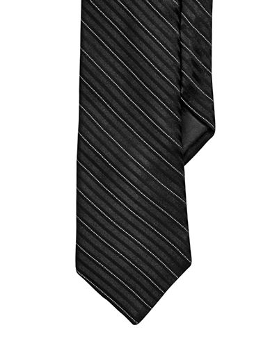 Calvin Klein Striped Slim Tie-BLACK-One Size