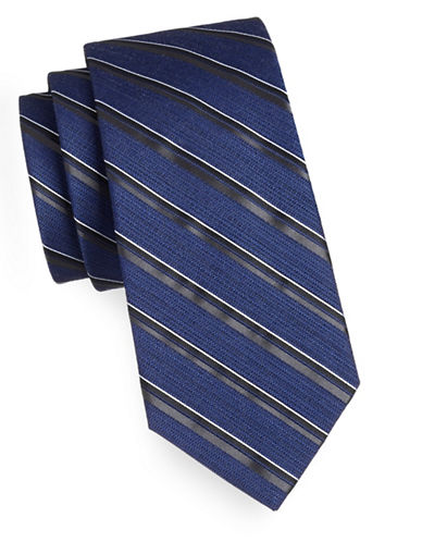 Arrow Premium Repp Stripe Tie-BLACK-One Size