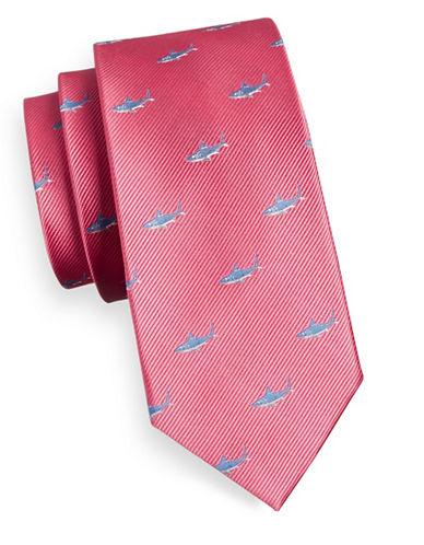 Izod Dobby Shark Silk Tie-CORAL-One Size