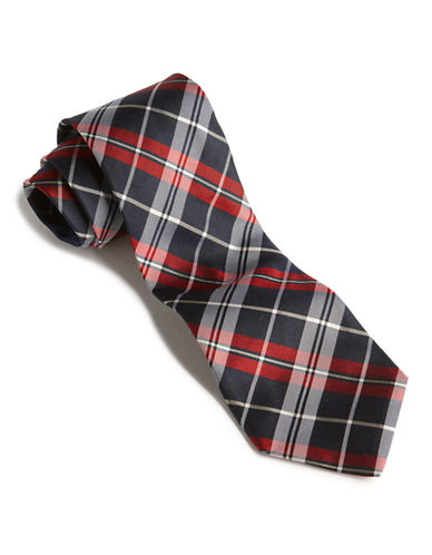 Tommy Hilfiger Plaid Core Tie-NAVY-One Size