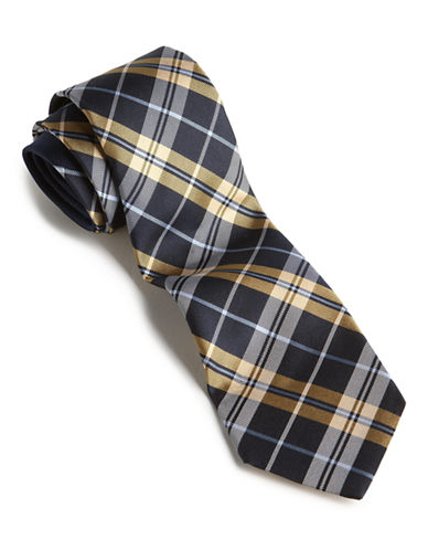 Tommy Hilfiger Plaid Core Tie-YELLOW-One Size