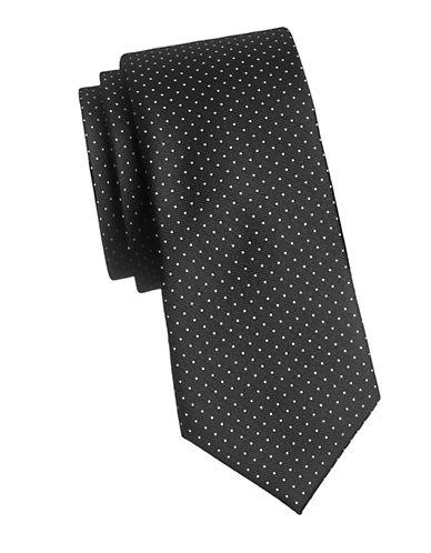 Tommy Hilfiger Vintage Dot Neat Silk Tie-BLACK-One Size