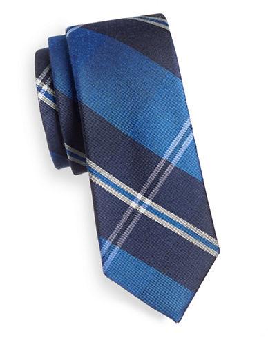 Tommy Hilfiger Plaid Slim Silk Tie-BLUE-One Size