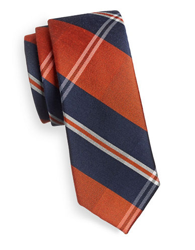 Tommy Hilfiger Plaid Slim Silk Tie-ORANGE-One Size