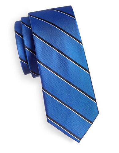 Tommy Hilfiger Striped Slim Silk Tie-BLUE-One Size