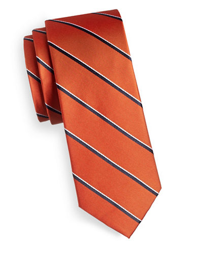 Tommy Hilfiger Striped Slim Silk Tie-ORANGE-One Size