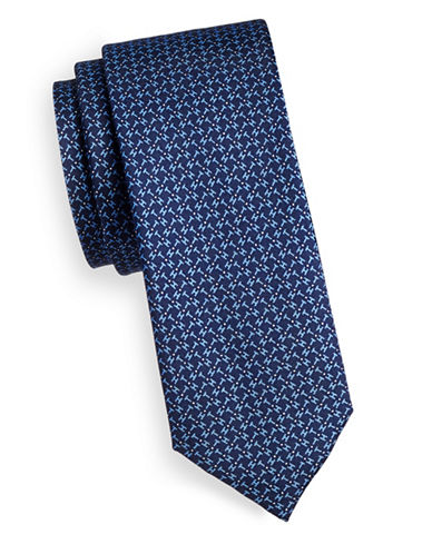 Tommy Hilfiger Neat Slim Silk Tie-NAVY-One Size
