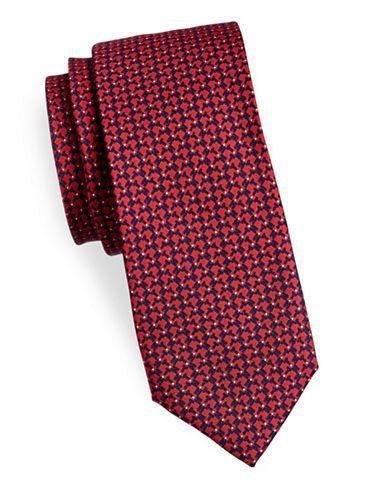 Tommy Hilfiger Neat Slim Silk Tie-RED-One Size