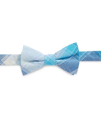 Bow Tie Tuesdays Pre-Tied Dobby Plaid Bow Tie-AQUA-One Size