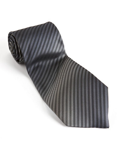 Kenneth Cole Reaction Silk Stripe Tie-BLACK-One Size