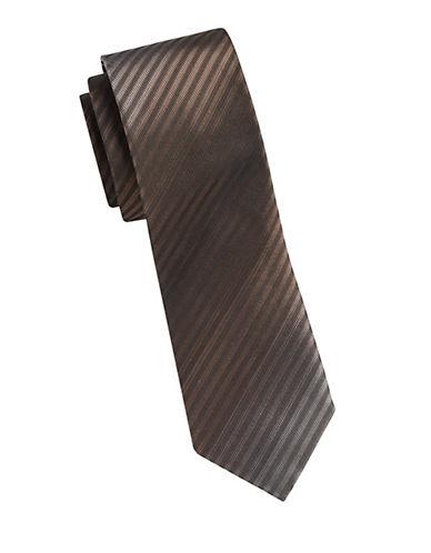 Kenneth Cole Reaction Silk Stripe Tie-BEIGE-One Size
