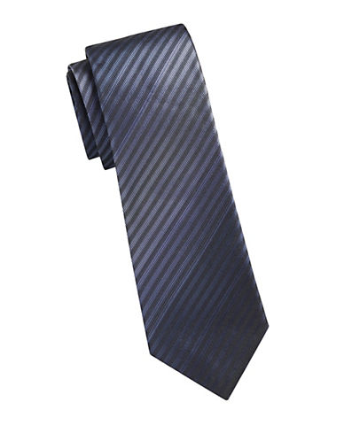 Kenneth Cole Reaction Silk Stripe Tie-BLUE-One Size