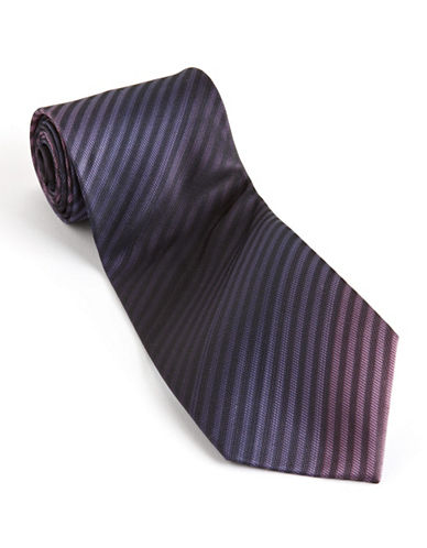 Kenneth Cole Reaction Silk Stripe Tie-PURPLE-One Size