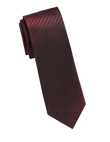 Kenneth Cole Reaction Silk Stripe Tie-RED-One Size