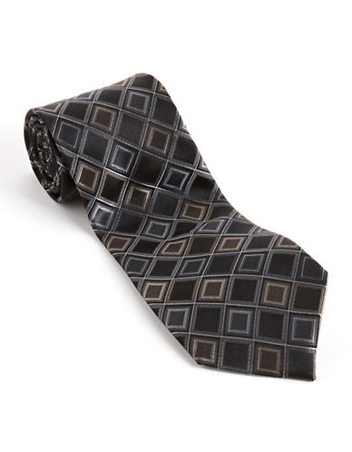Kenneth Cole Reaction Diamond Print Silk Tie-BLACK-One Size
